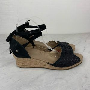 Ugg Black Wedge Ankle Wrap Peep Toe Sandals